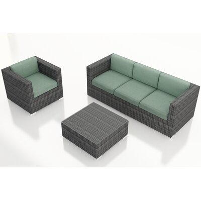 Gerron 3 Piece Deep Seating Group with Cushions Fabric: Canvas Spa