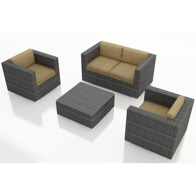 District 4 Piece Deep Seating Group with Cushions Fabric: Heather Beige