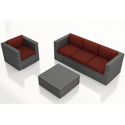 District 3 Piece Deep Seating Group with Cushions Fabric: Canvas Henna