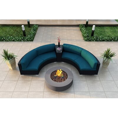 Eichhorn 4 Piece Curved Deep Seating Group with Cushions Fabric: Spectrum Peacock