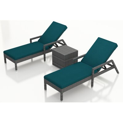 Gerron 3 Piece Chaise Lounge Set with Cushions Fabric: Spectrum Peacock