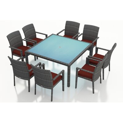 District 9 Piece Dining Set with Cushions Fabric: Canvas Henna