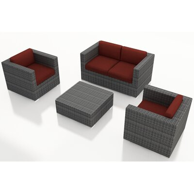 Gerron 4 Piece Deep Seating Group with Cushions Fabric: Canvas Henna