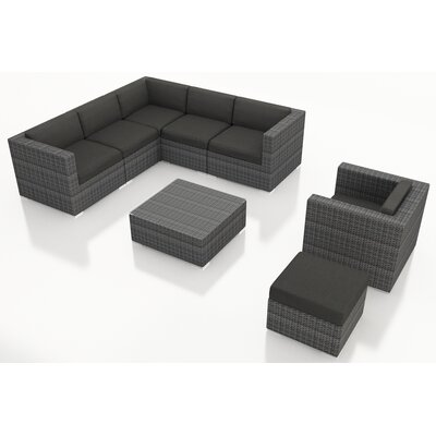 Gerron 8 Piece Deep Seating Group with Cushions Fabric: Canvas Charcoal
