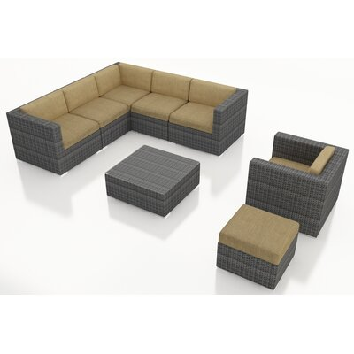 District 8 Piece Deep Seating Group with Cushions Fabric: Heather Beige