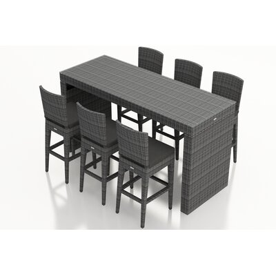 Gerron 7 Piece Bar Set with Cushions Fabric: Canvas Charcoal