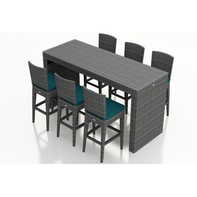 Gerron 7 Piece Bar Set with Cushions Fabric: Spectrum Peacock