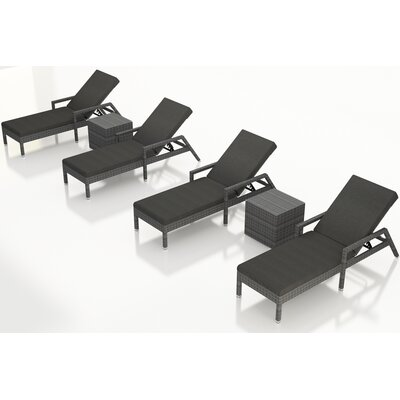 Gerron 6 Piece Chaise Lounge Set with Cushions Fabric: Canvas Charcoal