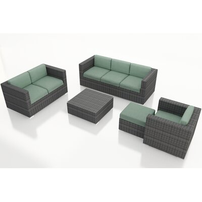Gerron 5 Piece Wicker Deep Seating Group with Cushions Fabric: Canvas Spa