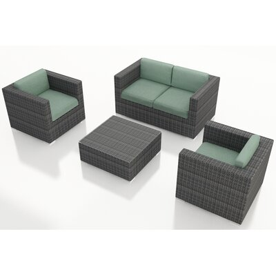 District 4 Piece Deep Seating Group with Cushions Fabric: Canvas Spa