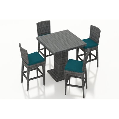 Gerron 5 Piece Bar Set with Cushions Fabric: Spectrum Peacock