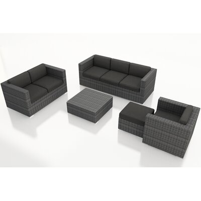 Gerron 5 Piece Wicker Deep Seating Group with Cushions Fabric: Canvas Charcoal