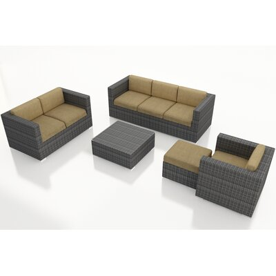 Gerron 5 Piece Wicker Deep Seating Group with Cushions Fabric: Heather Beige