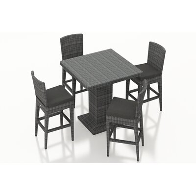 Gerron 5 Piece Bar Set with Cushions Fabric: Canvas Charcoal