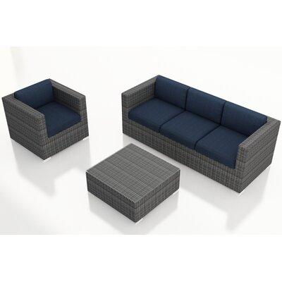 Gerron 3 Piece Deep Seating Group with Cushions Fabric: Spectrum Indigo