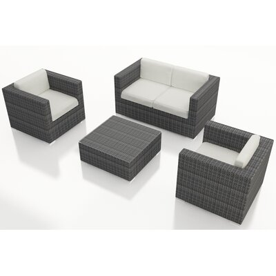 Gerron 4 Piece Deep Seating Group with Cushions Fabric: Canvas Natural