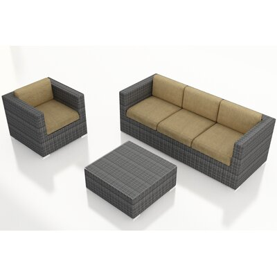 Gerron 3 Piece Deep Seating Group with Cushions Fabric: Heather Beige