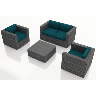 Gerron 4 Piece Deep Seating Group with Cushions Fabric: Spectrum Peacock