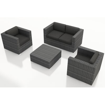 Gerron 4 Piece Deep Seating Group with Cushions Fabric: Canvas Charcoal