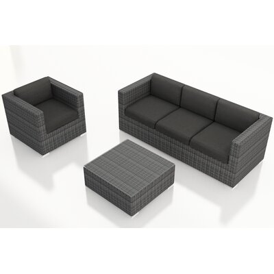 Gerron 3 Piece Deep Seating Group with Cushions Fabric: Canvas Charcoal
