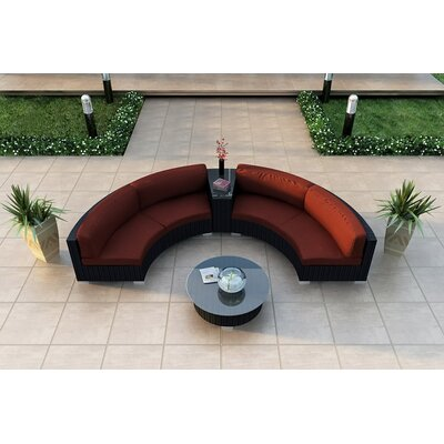 Eichhorn 4 Piece Curved Deep Seating Group with Cushions Fabric: Canvas Henna
