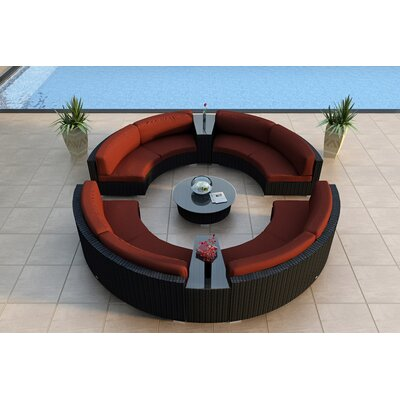 Urbana 7 Piece Curved Deep Seating Group with Cushions Fabric: Canvas Henna