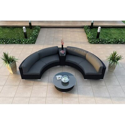 Eichhorn 4 Piece Curved Deep Seating Group with Cushions Fabric: Canvas Charcoal