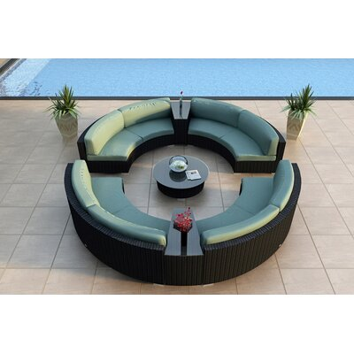 Eichhorn 7 Piece Curved Deep Seating Group with Cushions Fabric: Canvas Spa