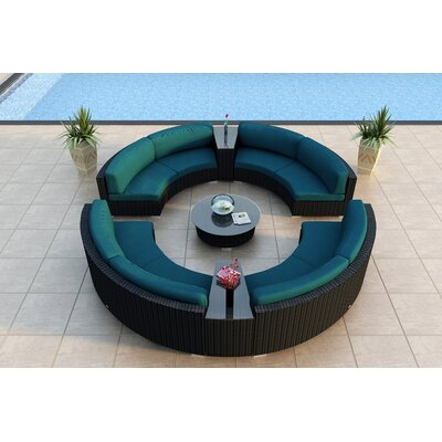 Eichhorn 7 Piece Curved Deep Seating Group with Cushions Fabric: Spectrum Peacock