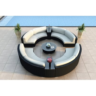 Urbana 7 Piece Curved Deep Seating Group with Cushions Fabric: Canvas Natural