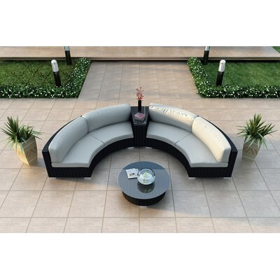 Eichhorn 4 Piece Curved Deep Seating Group with Cushions Fabric: Canvas Natural