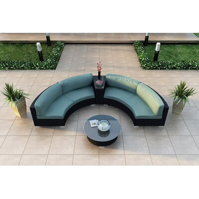 Eichhorn 4 Piece Curved Deep Seating Group with Cushions Fabric: Canvas Spa