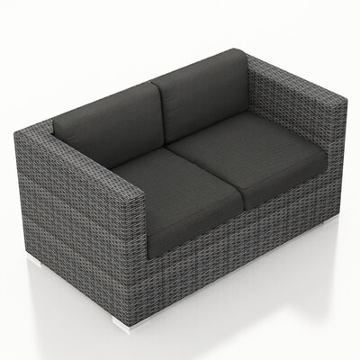 Gerron Loveseat with Cushions Fabric: Canvas Charcoal