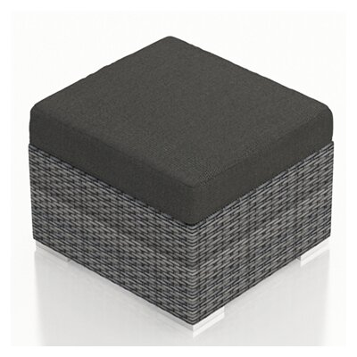 District Ottoman with Cushion Fabric: Canvas Charcoal