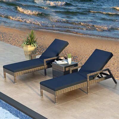 Gerron 3 Piece Chaise Lounge Set with Cushions Fabric: Spectrum Indigo