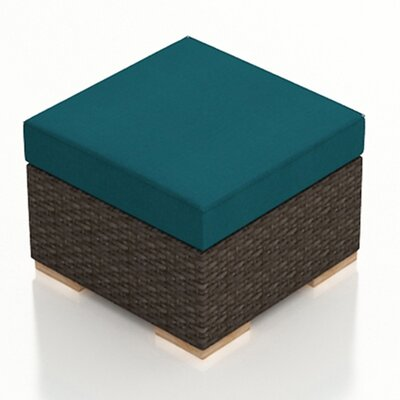 Arden Ottoman with Cushion Fabric: Spectrum Peacock