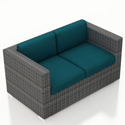 Gerron Loveseat with Cushions Fabric: Spectrum Peacock
