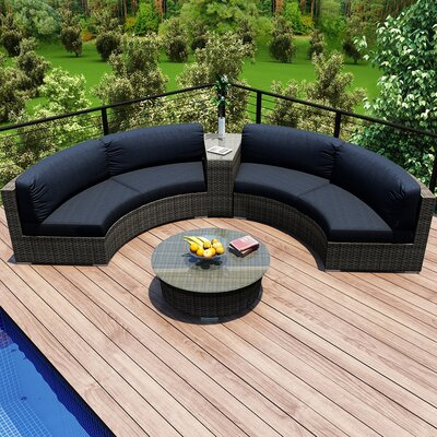 Gerron 4 Piece Curved Deep Seating Group with Cushions Fabric: Spectrum Indigo