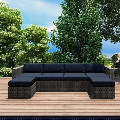 Gerron 6 Piece Deep Seating Group with Cushions Fabric: Spectrum Indigo