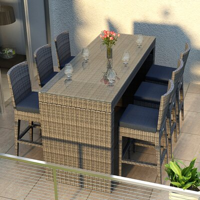 Gerron 7 Piece Bar Set with Cushions Fabric: Spectrum Indigo