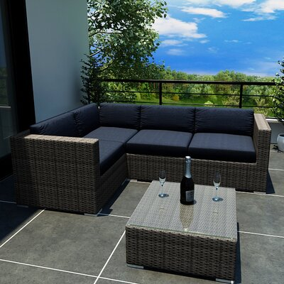 Gerron 5 Piece Deep Seating Group with Cushions Fabric: Spectrum Indigo