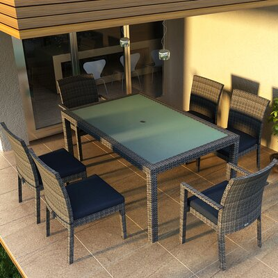 Gerron 7 Piece Dining Set with Cushions Fabric: Spectrum Indigo