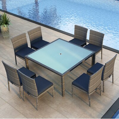Gerron 9 Piece Dining Set with Cushions Fabric: Spectrum Indigo