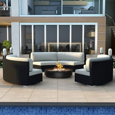 Urbana 3 Piece Curved Deep Seating Group with Cushions Fabric: Canvas Natural