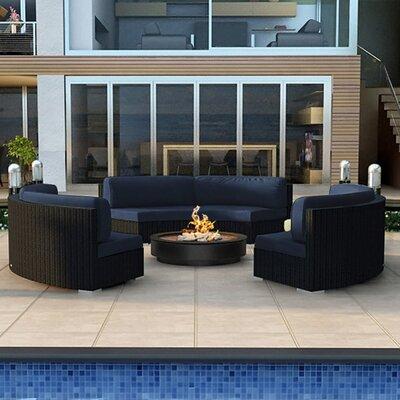 Urbana 3 Piece Curved Deep Seating Group with Cushions Fabric: Spectrum Indigo