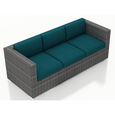 Gerron Sofa with Cushions Fabric: Spectrum Peacock