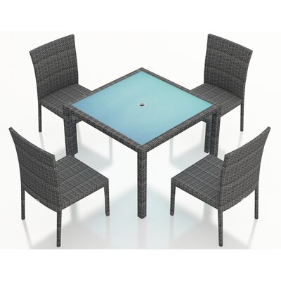 Gerron Contemporary 5 Piece Wicker Dining Set