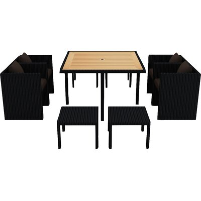 Arbor 9 Piece Cube Dining Set with Cushion Cushion Color: Spectrum Coffee