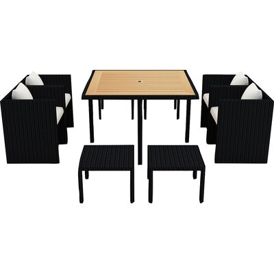 Arbor 9 Piece Cube Dining Set with Cushion Cushion Color: Canvas Natural