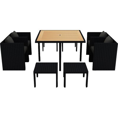 Arbor 9 Piece Cube Dining Set with Cushion Cushion Color: Canvas Charcoal